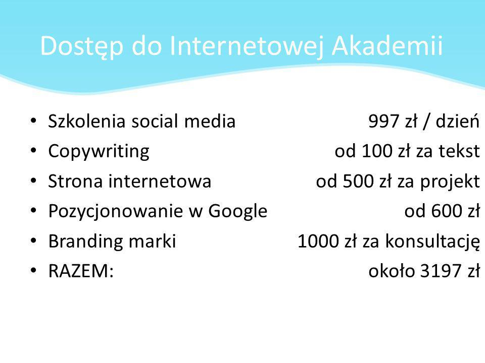 Dostęp do Internetowej Akademii Szkolenia social media Copywriting Strona internetowa Pozycjonowanie w Google Branding marki RAZEM: 997 zł / dzień od