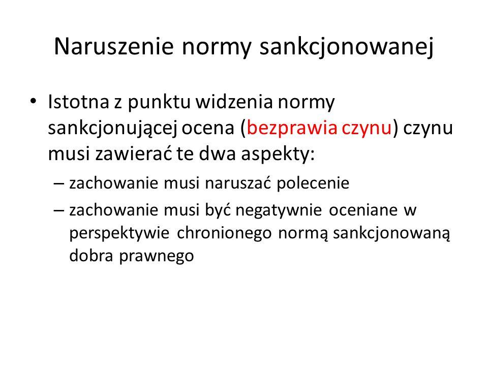 Naruszenie normy sankcjonowanej Istotna z punktu widzenia normy sankcjonującej ocena (bezprawia czynu) czynu musi zawierać te dwa aspekty: – zachowani