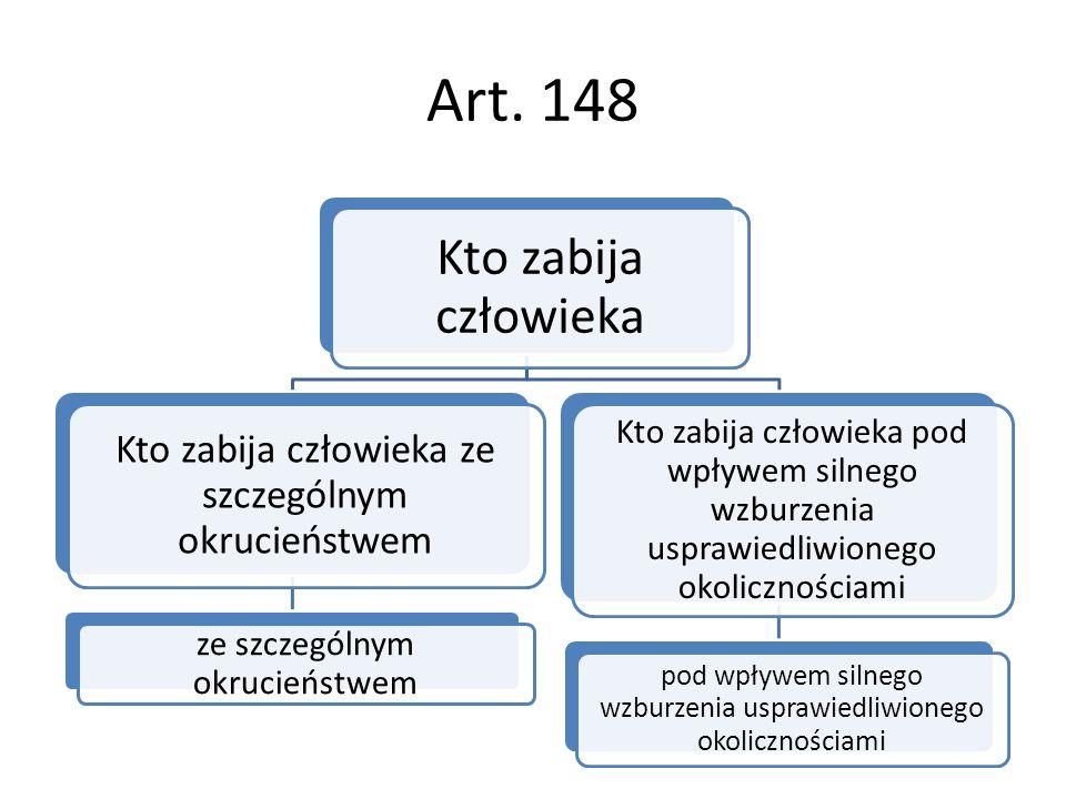 Art. 148 Kto zabija człowieka Kto zabija człowieka ze szczególnym okrucieństwem ze szczególnym okrucieństwem Kto zabija człowieka pod wpływem silnego