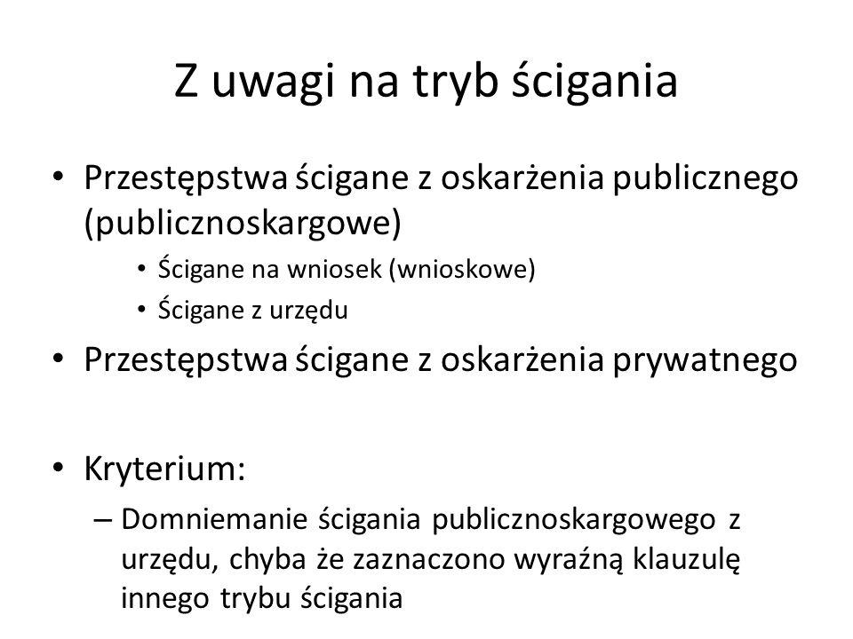 Z uwagi na tryb ścigania Przestępstwa ścigane z oskarżenia publicznego (publicznoskargowe) Ścigane na wniosek (wnioskowe) Ścigane z urzędu Przestępstw