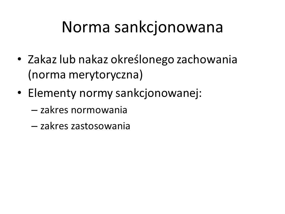 Norma sankcjonowana Zakaz lub nakaz określonego zachowania (norma merytoryczna) Elementy normy sankcjonowanej: – zakres normowania – zakres zastosowan