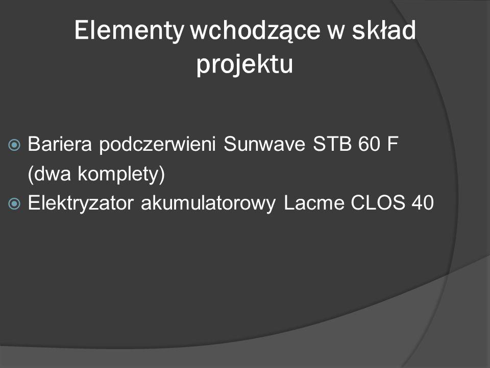 Elementy wchodzące w skład projektu Bariera podczerwieni Sunwave STB 60 F (dwa komplety) Elektryzator akumulatorowy Lacme CLOS 40
