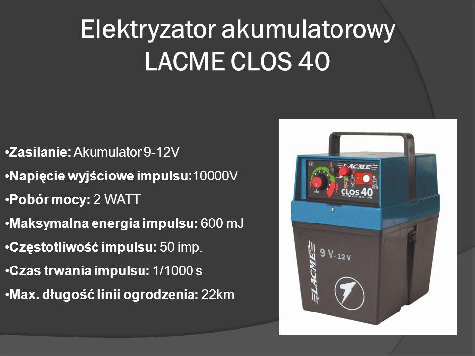 Elektryzator akumulatorowy LACME CLOS 40 Zasilanie: Akumulator 9-12V Napięcie wyjściowe impulsu:10000V Pobór mocy: 2 WATT Maksymalna energia impulsu: