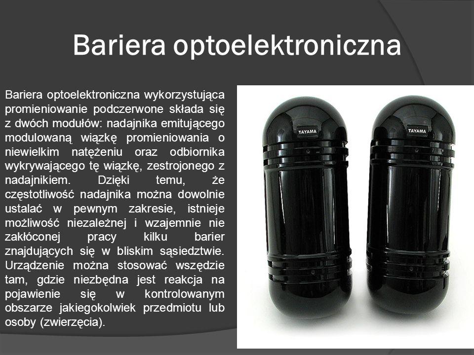 Bariera optoelektroniczna Bariera optoelektroniczna wykorzystująca promieniowanie podczerwone składa się z dwóch modułów: nadajnika emitującego modulo