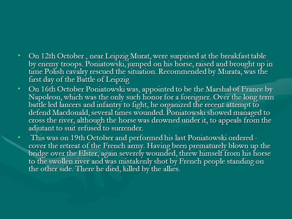 Pochówek Burial Książę Józef Poniatowski, który zginął w nurtach Elstery pod Lipskiem 19 października 1813.