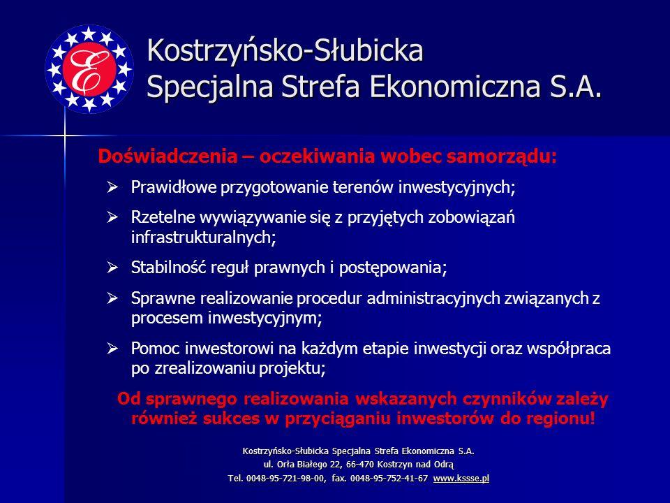 Kostrzyńsko-Słubicka Specjalna Strefa Ekonomiczna S.A. Doświadczenia – oczekiwania wobec samorządu: Prawidłowe przygotowanie terenów inwestycyjnych; R
