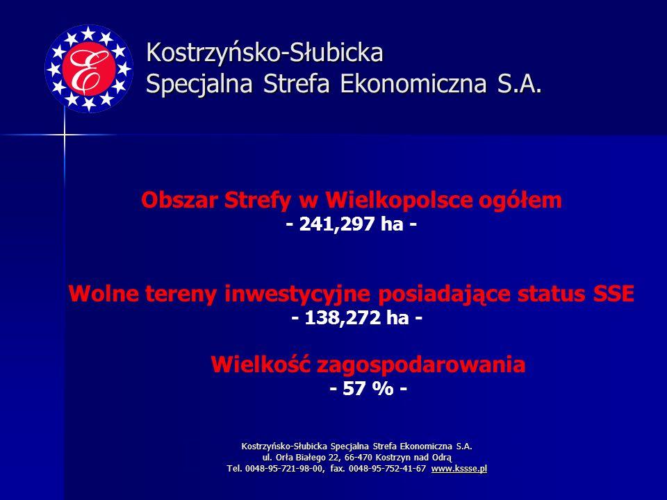 Kostrzyńsko-Słubicka Specjalna Strefa Ekonomiczna S.A. ul. Orła Białego 22, 66-470 Kostrzyn nad Odrą Tel. 0048-95-721-98-00, fax. 0048-95-752-41-67 ww
