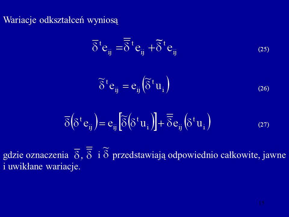 15 Wariacje odkształceń wyniosą (25) (26) (27) gdzie oznaczenia i przedstawiają odpowiednio całkowite, jawne i uwikłane wariacje.