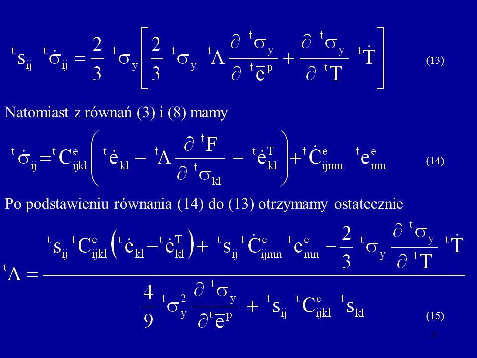 9 Dla modelu sprężysto-plastycznego ze wzmocnieniem liniowym (16) i wykorzystaniu zależności na (17) otrzymamy Po zróżniczkowaniu równania (16), podstawieniu do (15)