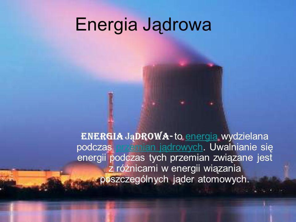 Energia j ą drowa- to energia wydzielana podczas przemian jądrowych. Uwalnianie się energii podczas tych przemian związane jest z różnicami w energii