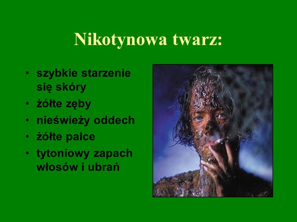 Nikotynowa twarz: szybkie starzenie się skóry żółte zęby nieświeży oddech żółte palce tytoniowy zapach włosów i ubrań