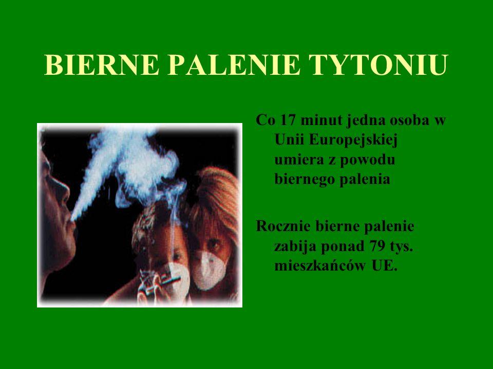 BIERNE PALENIE TYTONIU Co 17 minut jedna osoba w Unii Europejskiej umiera z powodu biernego palenia Rocznie bierne palenie zabija ponad 79 tys.