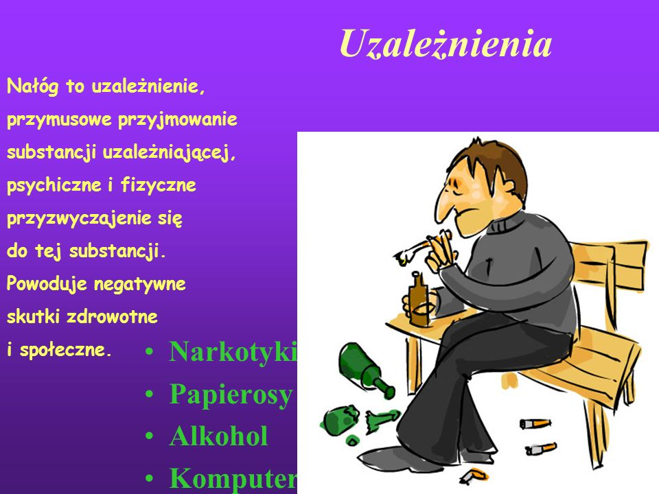Uzależnienia Narkotyki Papierosy Alkohol Komputer Nałóg to uzależnienie, przymusowe przyjmowanie substancji uzależniającej, psychiczne i fizyczne przyzwyczajenie się do tej substancji.