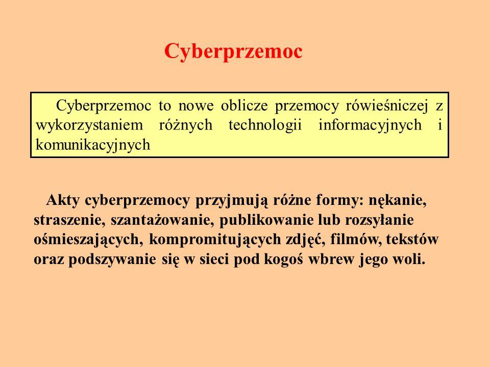 Cyberprzemoc Cyberprzemoc to nowe oblicze przemocy rówieśniczej z wykorzystaniem różnych technologii informacyjnych i komunikacyjnych Akty cyberprzemocy przyjmują różne formy: nękanie, straszenie, szantażowanie, publikowanie lub rozsyłanie ośmieszających, kompromitujących zdjęć, filmów, tekstów oraz podszywanie się w sieci pod kogoś wbrew jego woli.