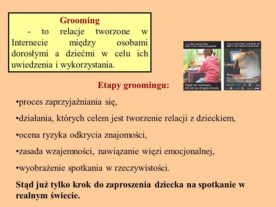 Grooming - to relacje tworzone w Internecie między osobami dorosłymi a dziećmi w celu ich uwiedzenia i wykorzystania.