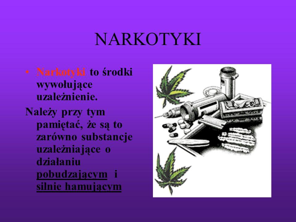 NARKOTYKI Narkotyki to środki wywołujące uzależnienie.