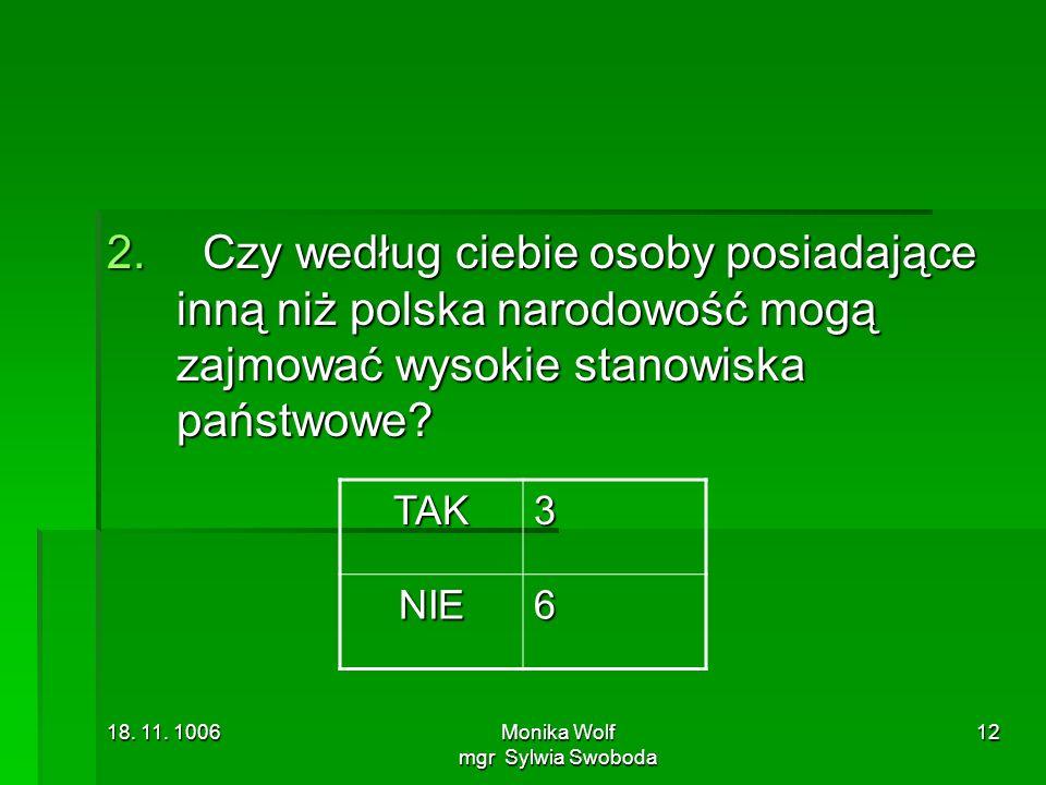 18. 11. 1006Monika Wolf mgr Sylwia Swoboda 12 2. Czy według ciebie osoby posiadające inną niż polska narodowość mogą zajmować wysokie stanowiska państ