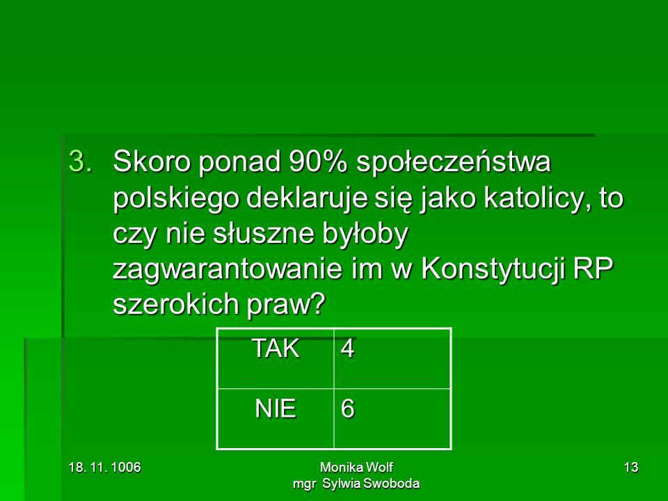 18. 11. 1006Monika Wolf mgr Sylwia Swoboda 13 3.Skoro ponad 90% społeczeństwa polskiego deklaruje się jako katolicy, to czy nie słuszne byłoby zagwara