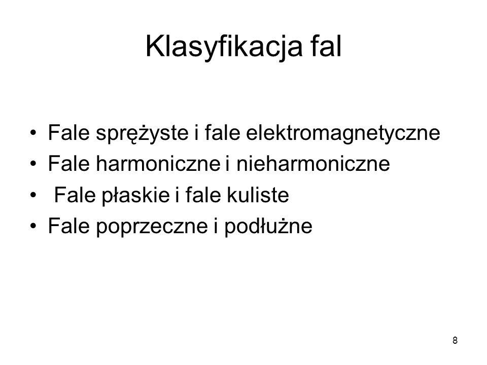 8 Klasyfikacja fal Fale sprężyste i fale elektromagnetyczne Fale harmoniczne i nieharmoniczne Fale płaskie i fale kuliste Fale poprzeczne i podłużne