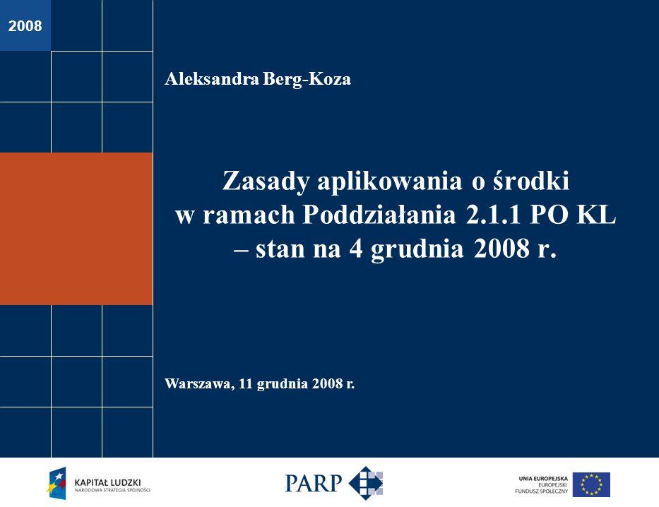 PODDZIAŁANIE 2.1.1 POKL – ZASADY APLIKOWANIA stan na 4 grudnia 2008 r.