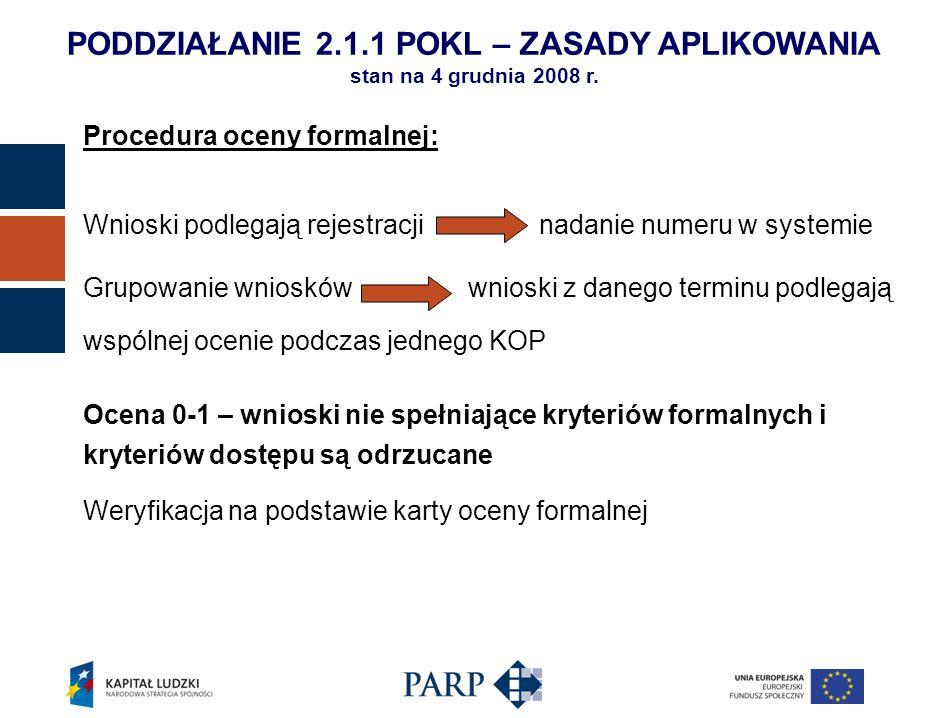 Procedura oceny formalnej: Wnioski podlegają rejestracji nadanie numeru w systemie Grupowanie wniosków wnioski z danego terminu podlegają wspólnej oce