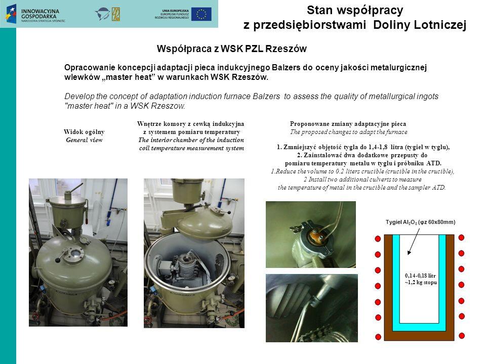 Stan współpracy z przedsiębiorstwami Doliny Lotniczej Współpraca z WSK PZL Rzeszów Widok ogólny General view Opracowanie koncepcji adaptacji pieca indukcyjnego Balzers do oceny jakości metalurgicznej wlewków master heat w warunkach WSK Rzeszów.