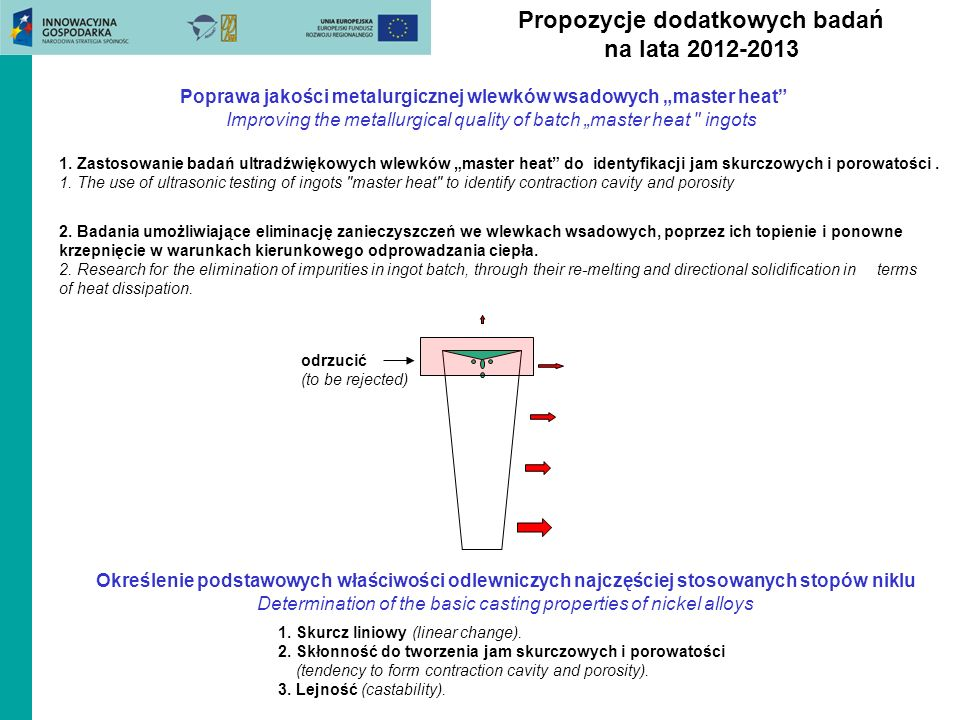 Propozycje dodatkowych badań na lata 2012-2013 Określenie podstawowych właściwości odlewniczych najczęściej stosowanych stopów niklu Determination of the basic casting properties of nickel alloys 1.