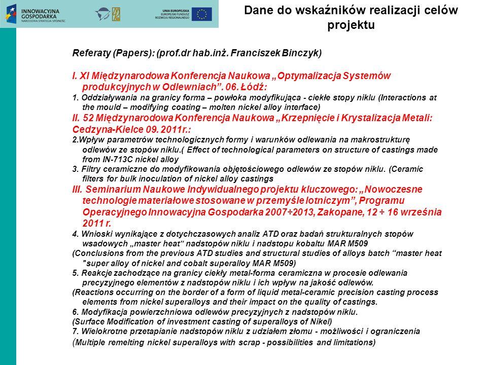 Dane do wskaźników realizacji celów projektu Referaty (Papers): (prof.dr hab.inż.
