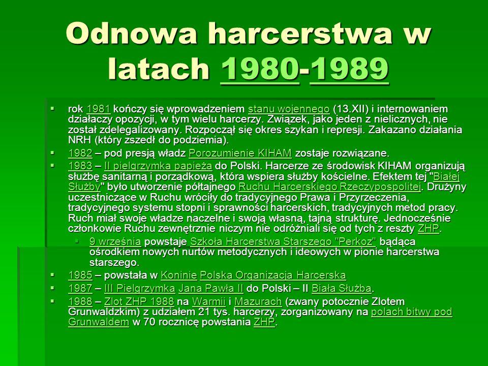 Odnowa harcerstwa w latach 1980-1989 1980198919801989 rok 1981 kończy się wprowadzeniem stanu wojennego (13.XII) i internowaniem działaczy opozycji, w