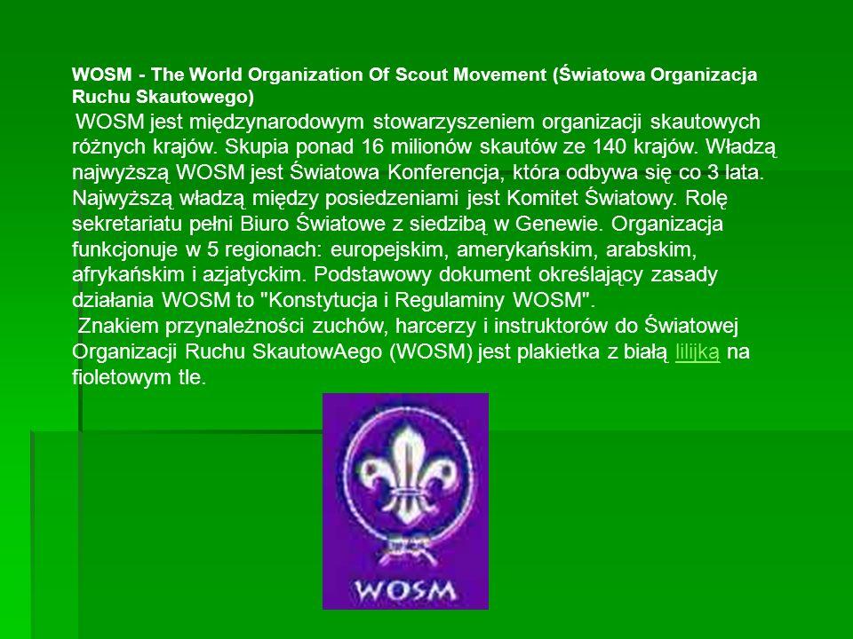 WOSM - The World Organization Of Scout Movement (Światowa Organizacja Ruchu Skautowego) WOSM jest międzynarodowym stowarzyszeniem organizacji skautowych różnych krajów.