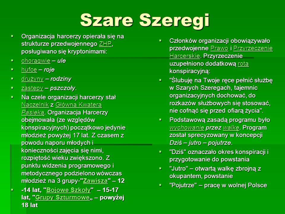 Szare Szeregi Organizacja harcerzy opierała się na strukturze przedwojennego ZHP, posługiwano się kryptonimami: Organizacja harcerzy opierała się na s