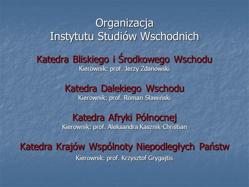 Organizacja Instytutu Studiów Wschodnich Katedra Bliskiego i Środkowego Wschodu Kierownik: prof.