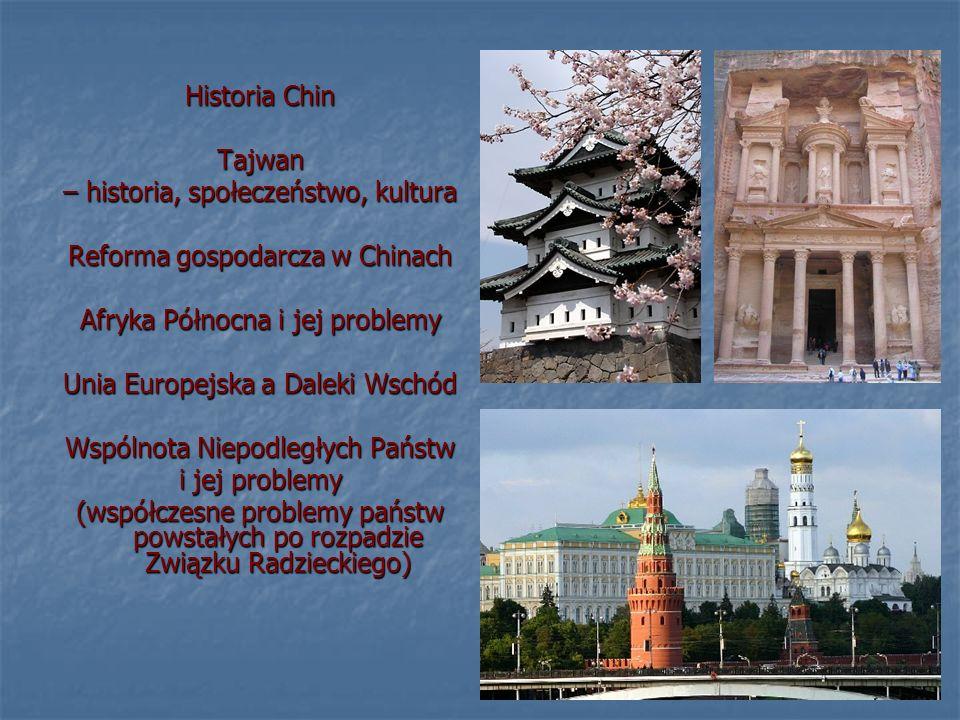 Historia Chin Tajwan – historia, społeczeństwo, kultura Reforma gospodarcza w Chinach Afryka Północna i jej problemy Unia Europejska a Daleki Wschód Wspólnota Niepodległych Państw i jej problemy (współczesne problemy państw powstałych po rozpadzie Związku Radzieckiego)