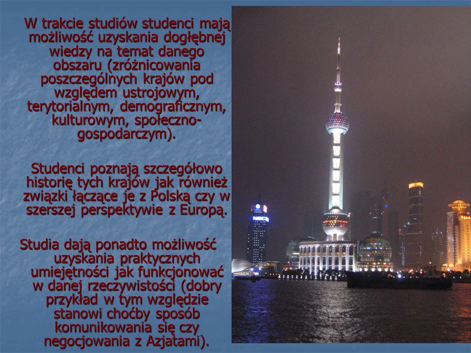 W trakcie studiów studenci mają możliwość uzyskania dogłębnej wiedzy na temat danego obszaru (zróżnicowania poszczególnych krajów pod względem ustrojowym, terytorialnym, demograficznym, kulturowym, społeczno- gospodarczym).