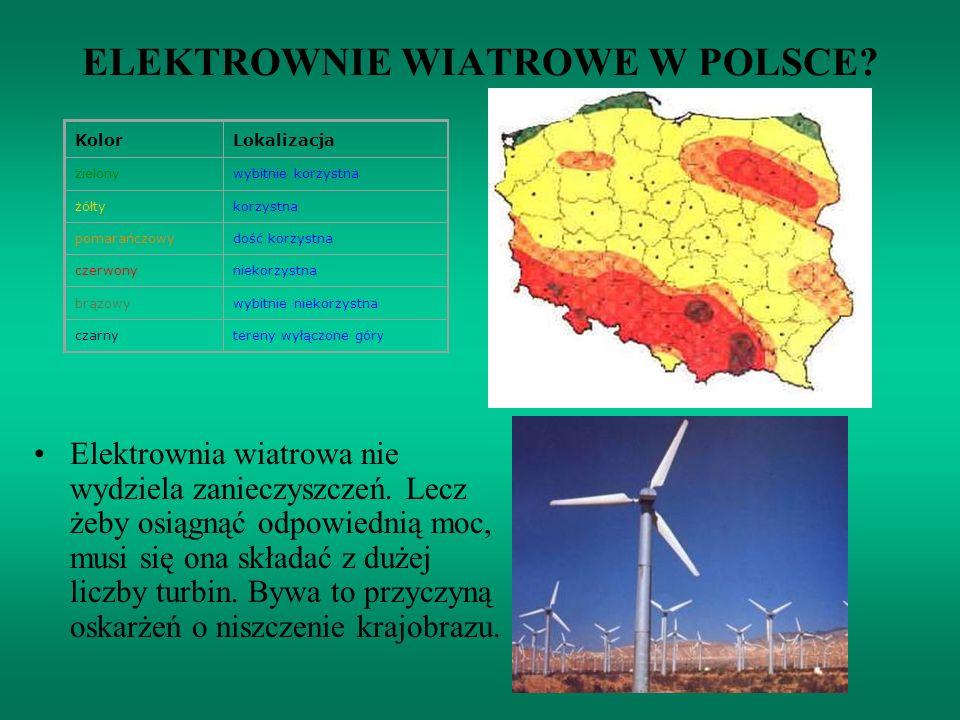 ELEKTROWNIE WIATROWE W POLSCE? Elektrownia wiatrowa nie wydziela zanieczyszczeń. Lecz żeby osiągnąć odpowiednią moc, musi się ona składać z dużej licz