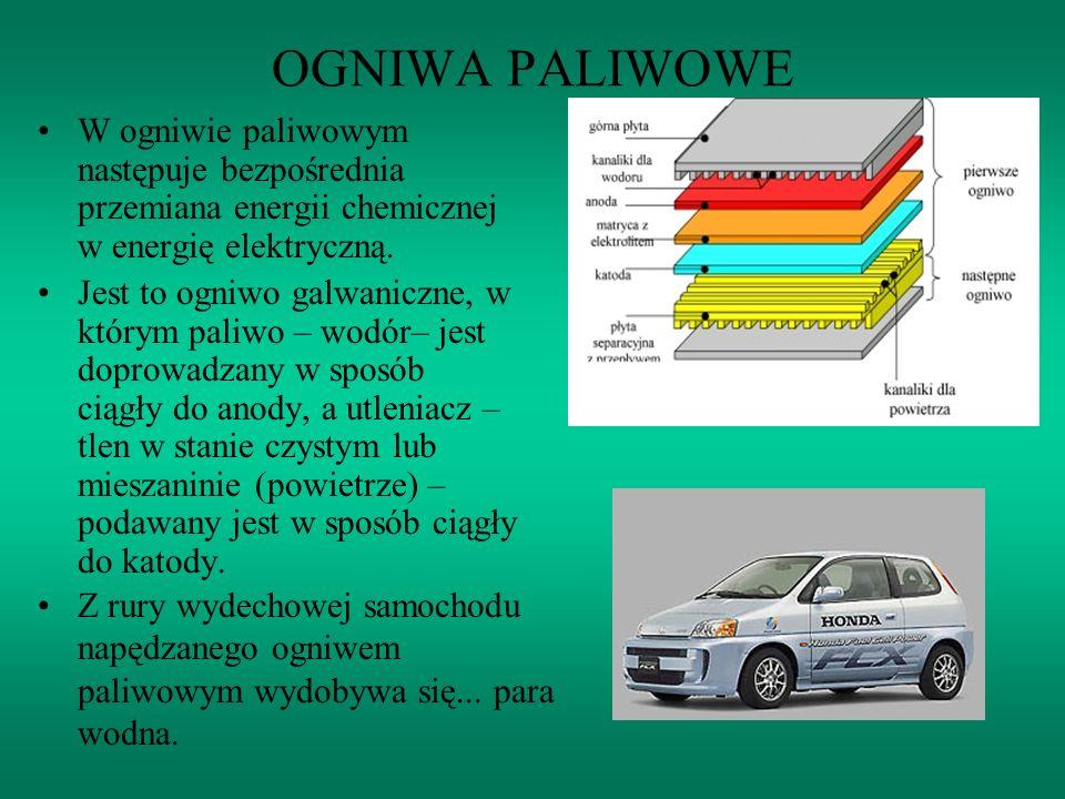 OGNIWA PALIWOWE W ogniwie paliwowym następuje bezpośrednia przemiana energii chemicznej w energię elektryczną. Jest to ogniwo galwaniczne, w którym pa