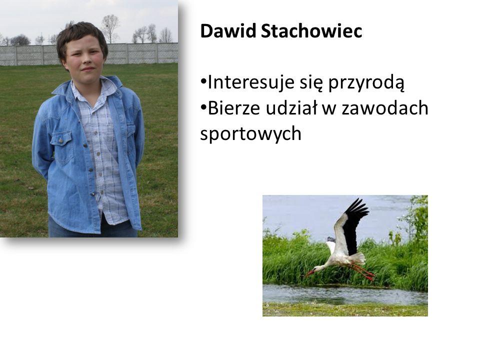 Dawid Stachowiec Interesuje się przyrodą Bierze udział w zawodach sportowych