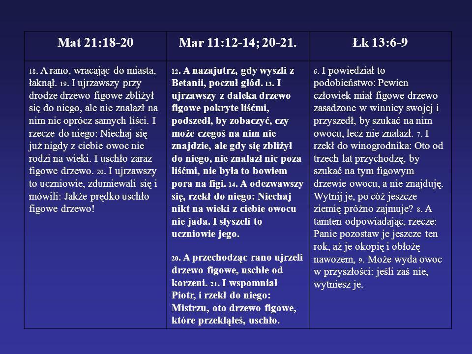 Mat 21:18-20Mar 11:12-14; 20-21.Łk 13:6-9 18. A rano, wracając do miasta, łaknął. 19. I ujrzawszy przy drodze drzewo figowe zbliżył się do niego, ale