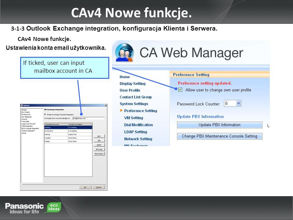 CAv4 Nowe funkcje. Ustawienia konta email użytkownika.