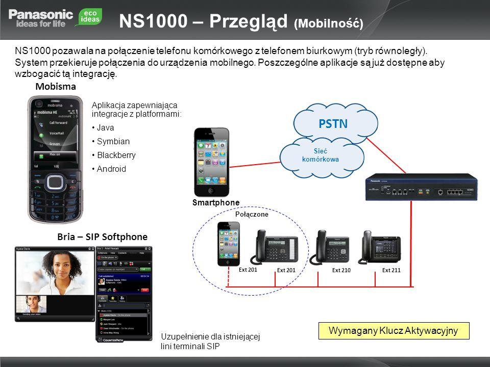 NS1000 pozawala na połączenie telefonu komórkowego z telefonem biurkowym (tryb równoległy). System przekieruje połączenia do urządzenia mobilnego. Pos