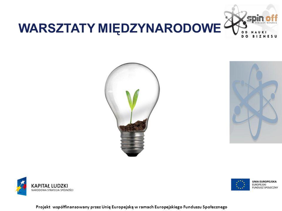 Projekt współfinansowany przez Unię Europejską w ramach Europejskiego Funduszu Społecznego WARSZTATY MIĘDZYNARODOWE