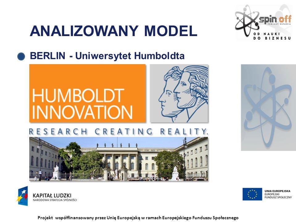 Projekt współfinansowany przez Unię Europejską w ramach Europejskiego Funduszu Społecznego ANALIZOWANY MODEL BERLIN - Uniwersytet Humboldta