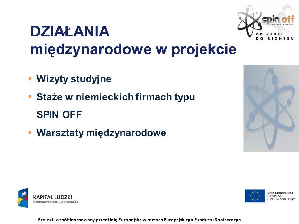 Projekt współfinansowany przez Unię Europejską w ramach Europejskiego Funduszu Społecznego DZIAŁANIA międzynarodowe w projekcie Wizyty studyjne Staże w niemieckich firmach typu SPIN OFF Warsztaty międzynarodowe