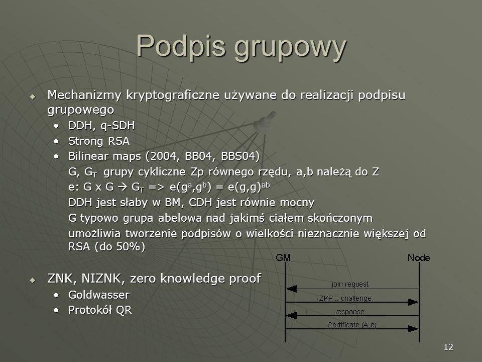 12 Podpis grupowy Mechanizmy kryptograficzne używane do realizacji podpisu grupowego Mechanizmy kryptograficzne używane do realizacji podpisu grupoweg