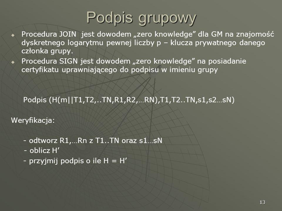 13 Podpis grupowy Procedura JOIN jest dowodem zero knowledge dla GM na znajomość dyskretnego logarytmu pewnej liczby p – klucza prywatnego danego czło