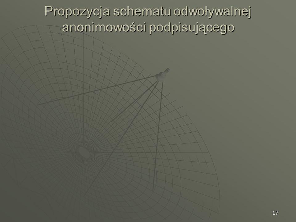 17 Propozycja schematu odwoływalnej anonimowości podpisującego