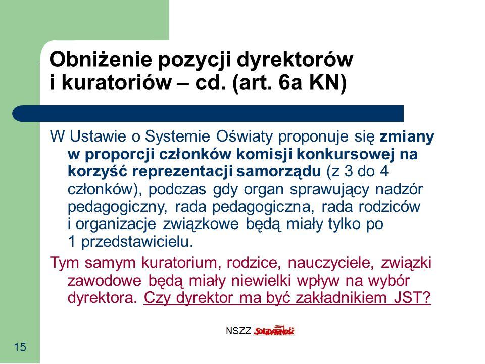 15 Obniżenie pozycji dyrektorów i kuratoriów – cd. (art. 6a KN) W Ustawie o Systemie Oświaty proponuje się zmiany w proporcji członków komisji konkurs