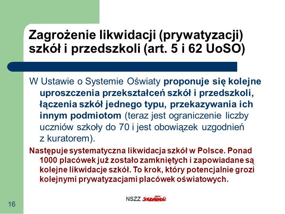 16 Zagrożenie likwidacji (prywatyzacji) szkół i przedszkoli (art. 5 i 62 UoSO) W Ustawie o Systemie Oświaty proponuje się kolejne uproszczenia przeksz