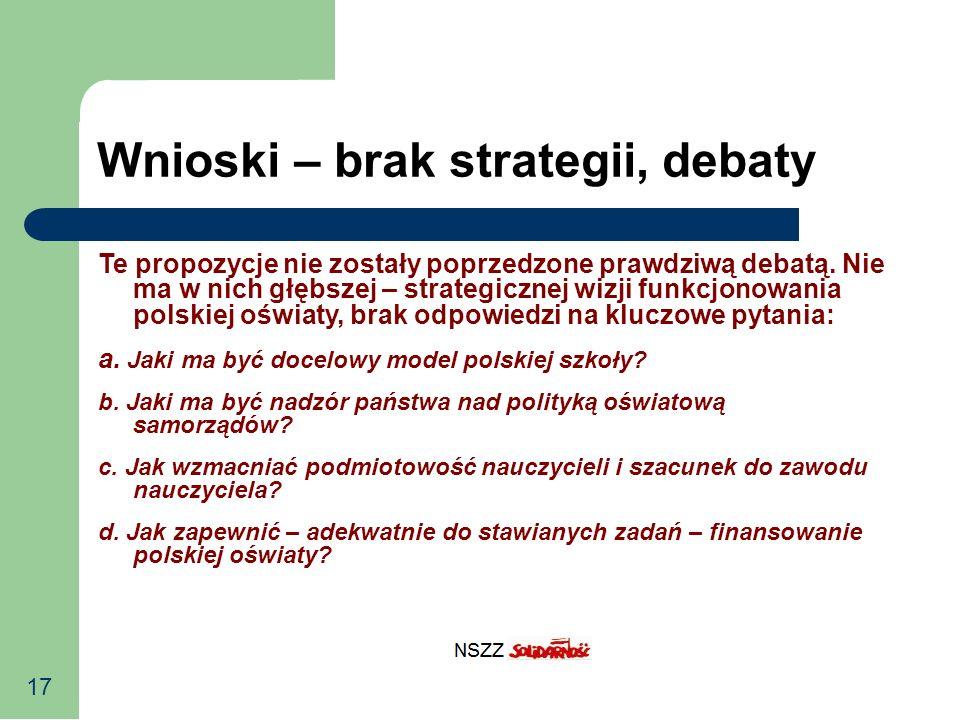 17 Wnioski – brak strategii, debaty Te propozycje nie zostały poprzedzone prawdziwą debatą. Nie ma w nich głębszej – strategicznej wizji funkcjonowani