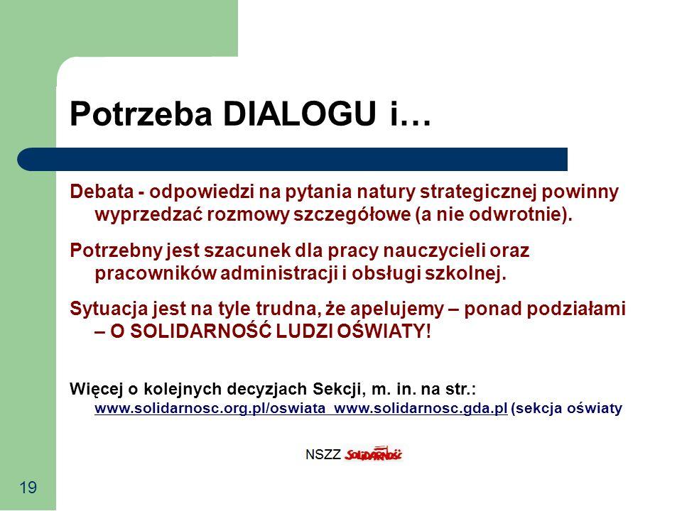 19 Potrzeba DIALOGU i… Debata - odpowiedzi na pytania natury strategicznej powinny wyprzedzać rozmowy szczegółowe (a nie odwrotnie). Potrzebny jest sz